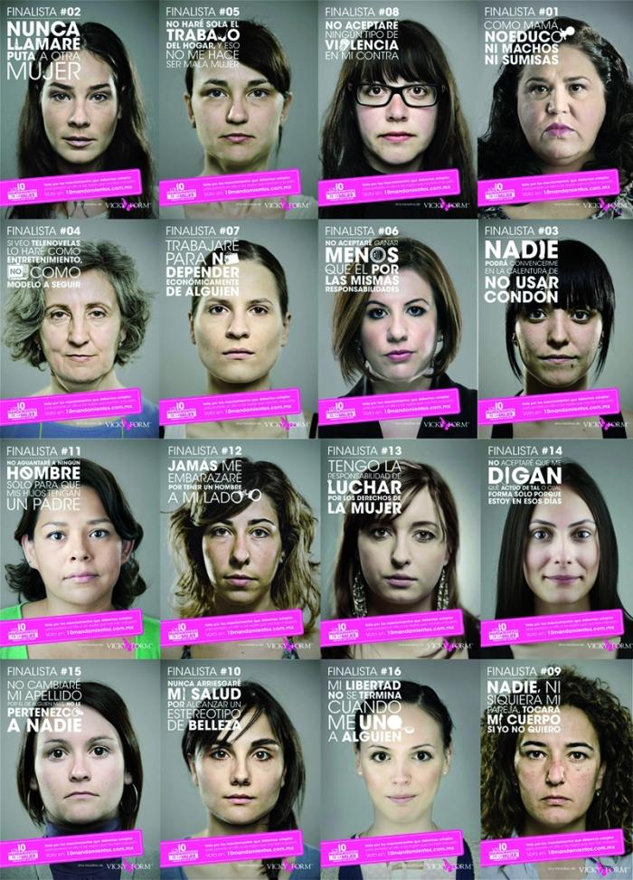 derechos de la mujer, feminidad, diez mandamientos